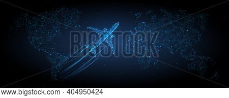 3d Airplane Flying Over Continents And Ocean. Abstract Vector Top View Wireframe. Digital Airliner A