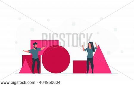 People Create Geometric Shapes Together. Business Company Create Concept With Geometric Shape. Man A