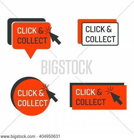 Detailed Click And Collect Sign Isolated White. Shop Store Label Sign Click And Collect Set With Mou