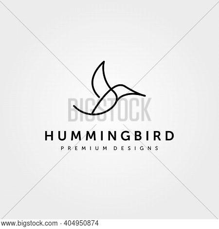 Hummingbird Logo Line Art Minimalist Vector Illustration Design