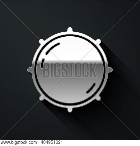 Silver Dial Knob Level Technology Settings Icon Isolated On Black Background. Volume Button, Sound C