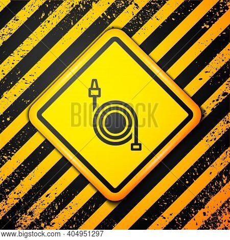 Black Fire Hose Reel Icon Isolated On Yellow Background. Warning Sign. Vector