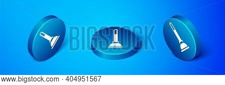 Isometric Rubber Plunger With Wooden Handle For Pipe Cleaning Icon Isolated On Blue Background. Toil