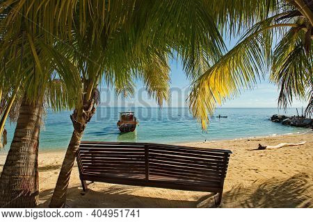 Malaysia. The East Coast Of The Island Of Borneo. View Of The Sea Harbor From The Shade Of Coconut T