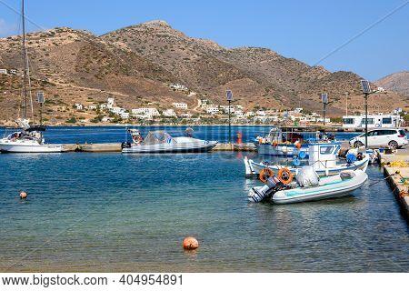 Ios, Greece - September 22, 2020: Boats Moored In The Marina On Ios Island. Cyclades Islands, Greece