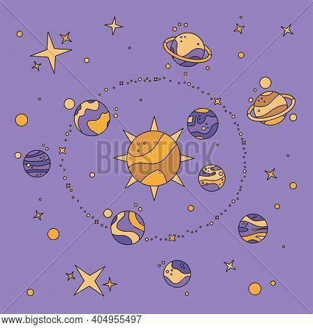 Flat Style Solar System Illustration. Asteroid Belt, Sun, Mars, Saturn, Milky Way, Asteroid Belt. Un