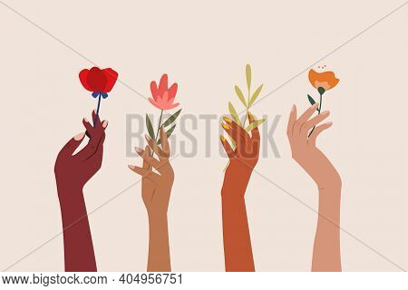 Set Of Female Hands Holding Beautiful Flowers. Different Skin Colored Elegant Woman Hands Isolated.