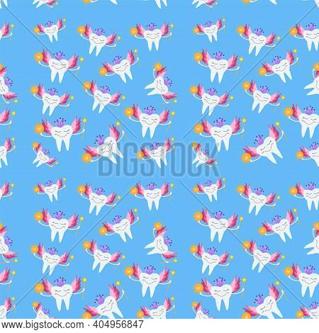 Seamless Pattern Tooth Fairy. Cartoon Vector Illustration On Blue Background. Tooth Fairy Wearing Cr