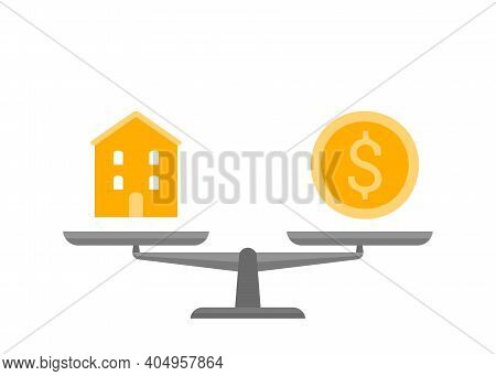 Scales In Balance House And Gold Money Icon. Building Home And Dollar Coin Sign In Comparison, Chois