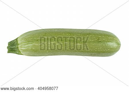 Raw Green Ripe Zucchini Isolated On White Background. Zucchini Or Marrow Isolated On White. Fresh Or