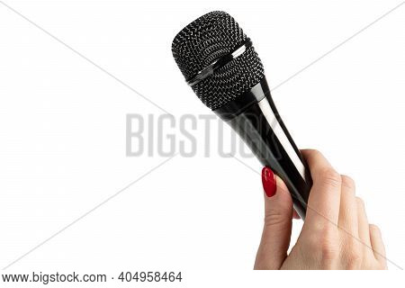 Modern Microphone In Woman Hand Isolated On A White Background. Woman Hand Holding Wireless Micropho