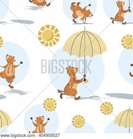 Groundhog Day. Marmot, Sun And Shadow. Groundhog Holding An Umbrella. Sunny Day. Seamless Pattern Wi