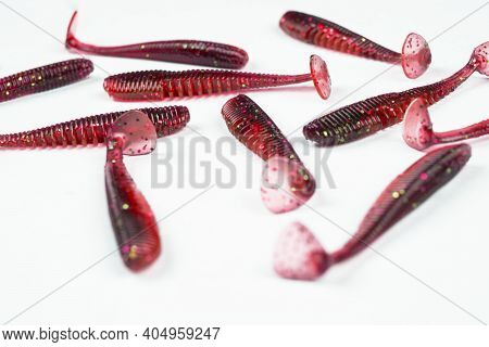 Jig Silicone Fishing Lures Isolated On A White Background. Silicone Fishing Baits Isolated. Colorful