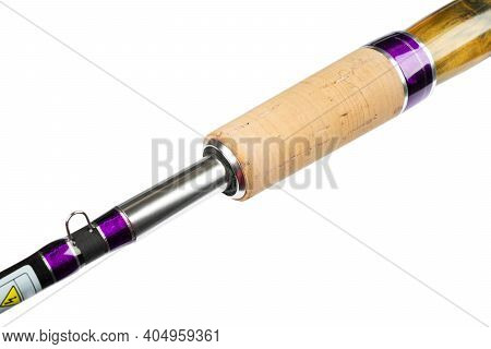 Fishing Rod Spinning Ring With Close-up. Fishing Rod Cork Handle And Natural Wood. Ttackle. Fishing