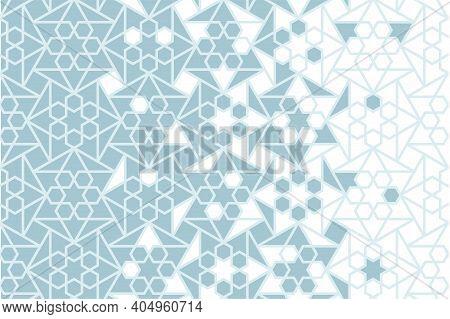 Arabesque Vector Seamless Pattern. Geometric Halftone Texture With Blue Tile Or Mosaic Disintegratio