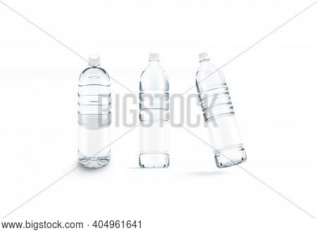Blank Transparent Plastic Bottle With Water Mockup, Different Views, 3d Rendering. Empty Translucent