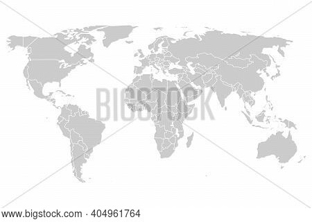 Grey Map Of The World With The Garnishes Of Countries