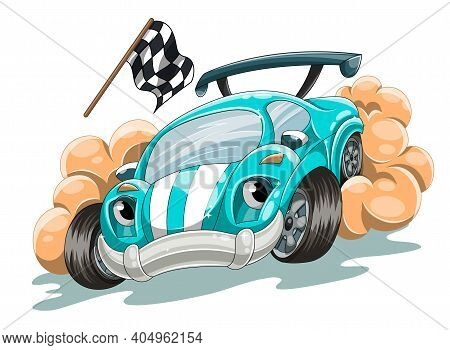 A Cartoon Racing Car Rushes Along The Track Trying To Win The Race. Cartoon Vector Illustration For