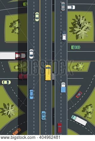 Top View Of Highway Road Junctions.city Transport Top View .landscape With Trees Top View.cars, Buse