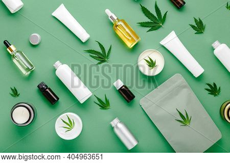 Hemp Cbd Oil Serum In Glass Dropper Bottle With Cannabis Leaves, Moisturizing Cream, Serum, Lotion,