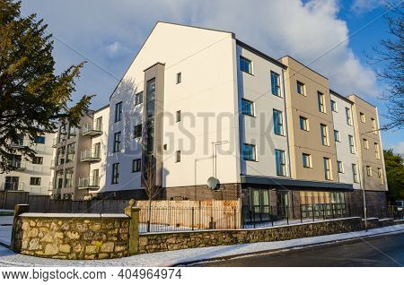 Holywell, Flintshire; Uk: Jan 25, 2021: A New Built Residential Block On Halkyn Road Will Serve As A