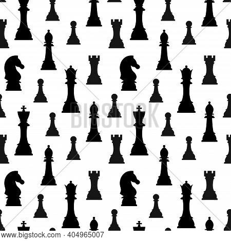 Chess Pieces Silhouette Vector Seamless Pattern Isolated On White Background. Black Chess Figures Ki