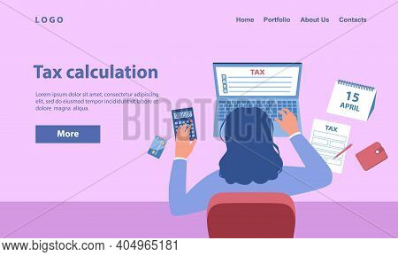 Financial Consultant Working At Office With Documents For Tax Calculation. Female Accountant Prepari