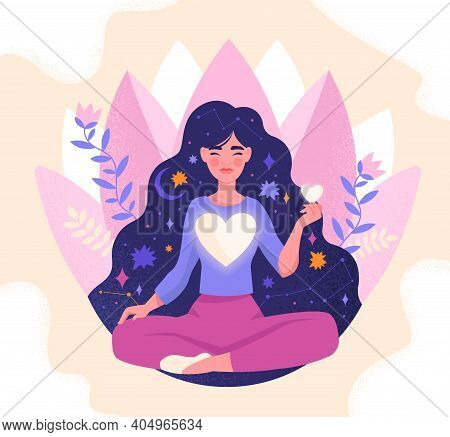 Concept Of Mindfulness, Love And Harmony With Yourself. Girl With Large Glowing Heart In Her Chest M