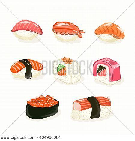 Sushi Roll Set. Sushi Rolls Flat Food And Japanese Seafood Sushi Rolls. Asia Cuisine Restaurant Deli