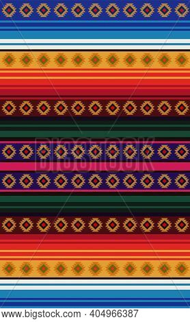 Mexican Rug Seamless Pattern. Ethnic Textile. Mexican Blanket Design Background. Stripes Fabric. Des