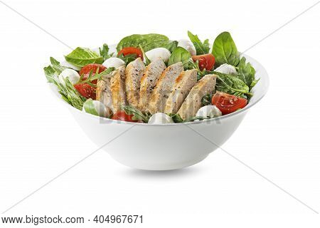 Healthy Mixed Salad With Chicken Breast, Tomato And Mozzarella Cheese Isolated On White