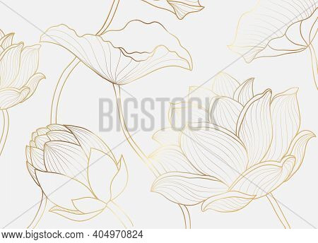 Gold Wallpaper Luxury Design With Lotus Flower And Leaf. Nelumbo Lotos Golden Line Arts. Floral Desi