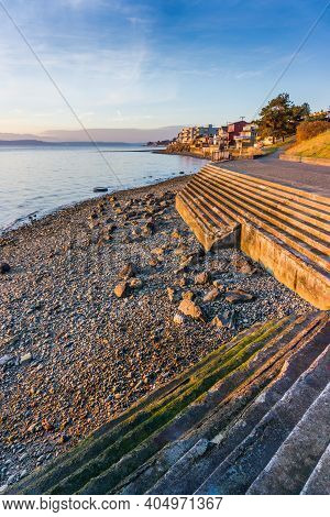 Shoreline Stairs At Low Tide In West Seattle, Washington.