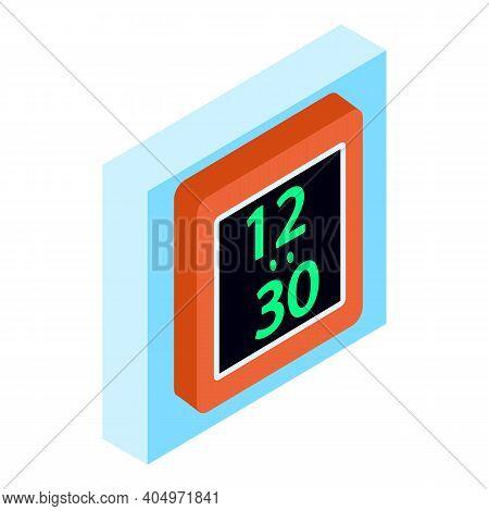Digital Alarmclock Icon. Isometric Illustration Of Digital Alarmclock Vector Icon For Web