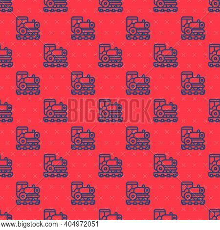 Blue Line Vintage Locomotive Icon Isolated Seamless Pattern On Red Background. Steam Locomotive. Vec