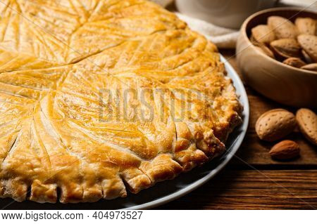 Traditional Galette Des Rois On Wooden Table, Closeup