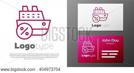 Logotype Line Cruise Ship Icon Isolated On White Background. Travel Tourism Nautical Transport. Voya