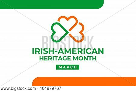 Irish-american Heritage Month Vector Illustration, Colors Ireland Flag. Abstract Trend Logo For Bann