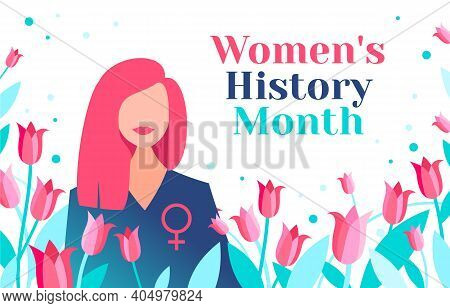 Women's History Month Is Celebrated In March. Beautiful Women With Female Symbol And Tulips. Women's