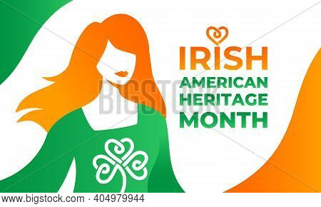 Irish-american Heritage Month Vector Illustration, Colors Ireland Flag. Horizontal Banner With A Cha