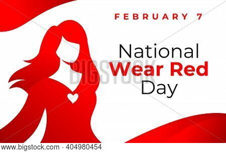 National Wear Red Day Vector Banner. Beautiful Woman Wearing Red Dress. American Heart Association B