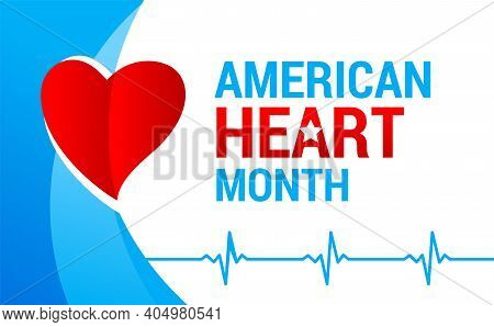 National American Heart Month Banner With Logo. Vector Illustration Ecg Graph And Red Heart For Bann