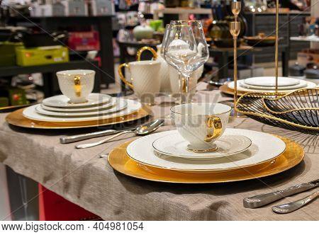 Modern Luxury Tableware Served On Table. Diner Tableware Set.