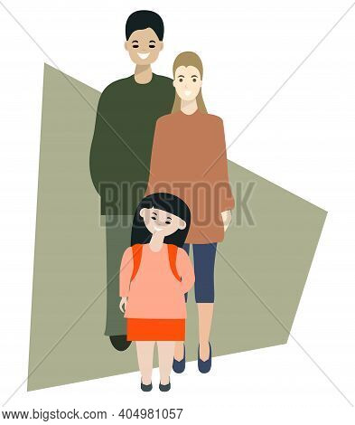 Happy Parents And Little Daughter Portrait. Multi Ethnic Family Concept. Isolated Vector Illustratio