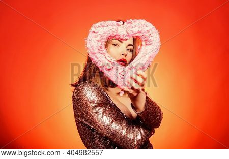 Happy Valentines Day. Prepare Celebration Valentines Day. Girl Makeup And Shimmering Dress. Woman Go