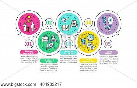 Staff Development Disadvantages Vector Infographic Template. Stress, Theory Presentation Design Elem
