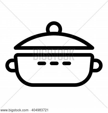 Cooking Wok Frying Pan Icon. Outline Cooking Wok Frying Pan Vector Icon For Web Design Isolated On W