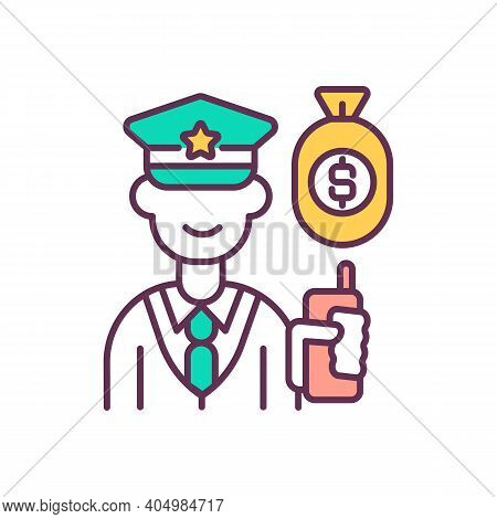 Tax Officer With Money Bag Rgb Color Icon. Business Process Optimization. Company Tax Policy Improve