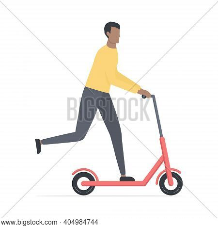 Young Cute African Man On Scooter. Cartoon Black Skin Guy Character Riding On Electric Scooter. Heal