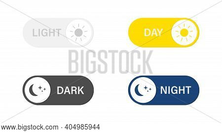 Day Night Switch Icon. Vector Illustration Light And Dark Mode Switch Set. On Off Or Day Night Butto